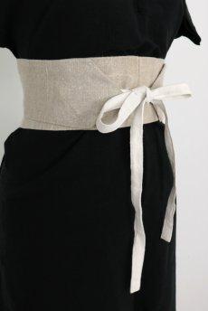 画像5: 【ササキチホ】手織りアンティークリネン ウエストマーク 帯ベルト(生成り) (5)