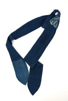 画像2: 【ササキチホ】藍染古布 ターバンヘアバン(濃藍と藍/2トーン) (2)