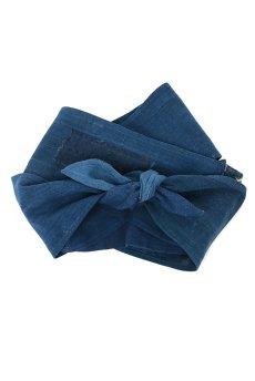画像1: 【ササキチホ】藍染古布 ターバンヘアバン(濃藍と藍/2トーン) (1)