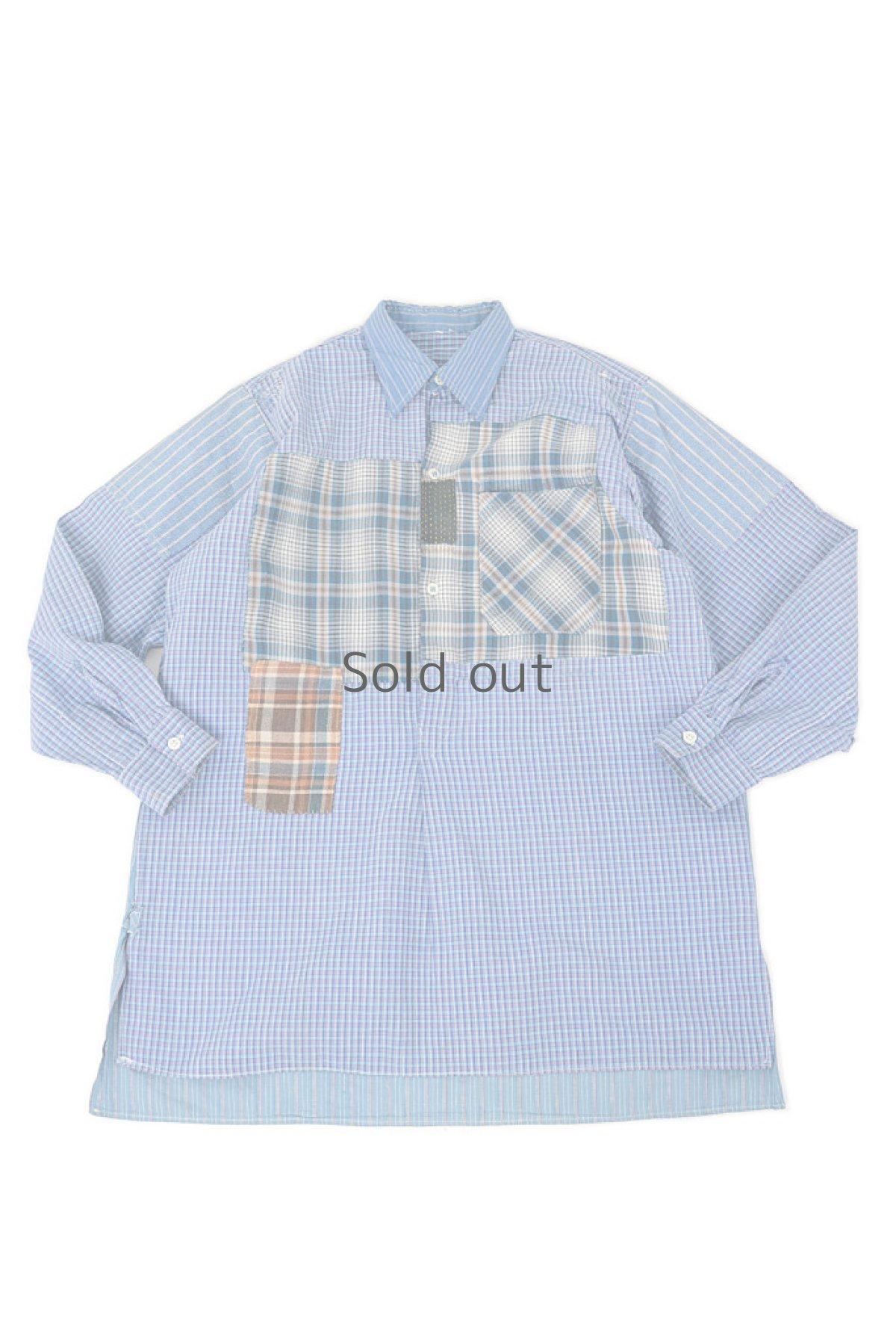 画像1: 【佐々木印】ビンテージリメイク パッチワークネルプルオーバーシャツ(ブルーストライプとチェック) (1)