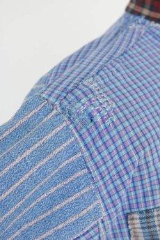 画像16: 【佐々木印】ビンテージリメイク パッチワークネルプルオーバーシャツ(ブルーストライプとチェック) (16)