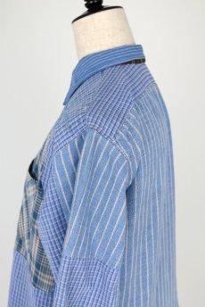 画像8: 【佐々木印】ビンテージリメイク パッチワークネルプルオーバーシャツ(ブルーストライプとチェック) (8)