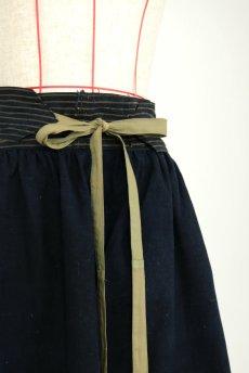 画像5: 【ササキチホ】藍染古布 ウエストマーク ロング巻きスカート(濃藍色) (5)