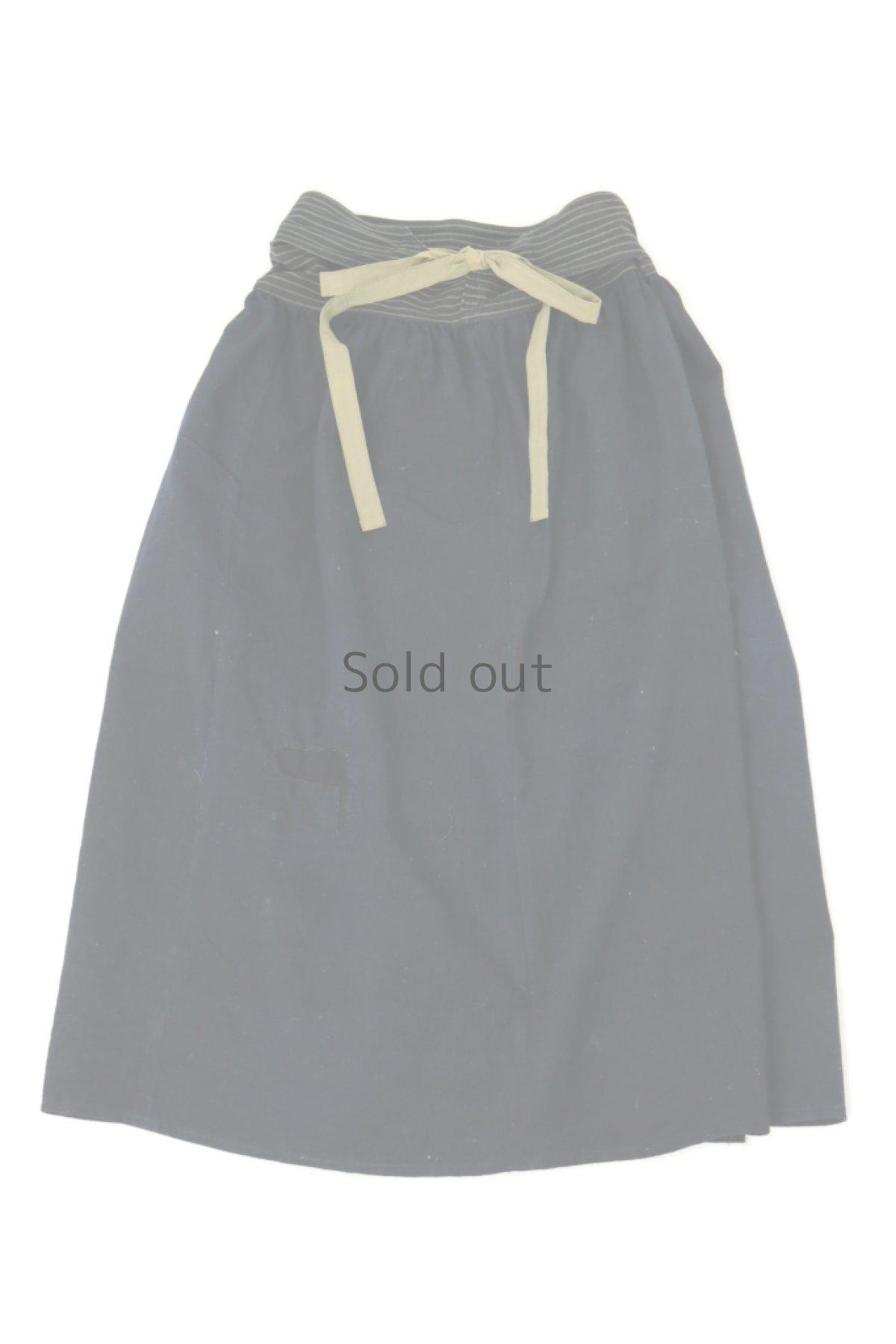 画像1: 【ササキチホ】藍染古布 ウエストマーク ロング巻きスカート(濃藍色) (1)