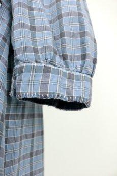 画像9: 【フランス】1950年代頃 パッチワーク チェック柄 ワークドレス(水色) (9)
