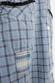 画像7: 【フランス】1950年代頃 パッチワーク チェック柄 ワークドレス(水色) (7)