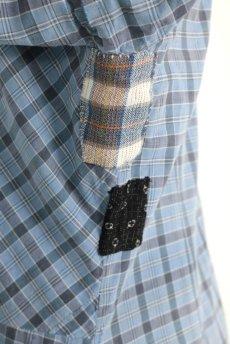 画像16: 【フランス】1950年代頃 パッチワーク チェック柄 ワークドレス(水色) (16)