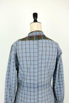 画像12: 【フランス】1950年代頃 パッチワーク チェック柄 ワークドレス(水色) (12)