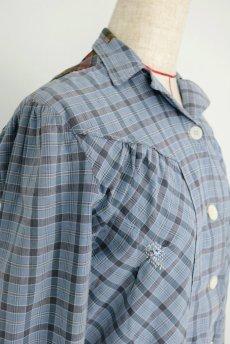 画像4: 【フランス】1950年代頃 パッチワーク チェック柄 ワークドレス(水色) (4)
