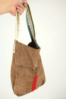 画像10: 【ササキチホ】柿渋古布 四角模様 手提げ 小さめのバッグ(柿渋染) (10)