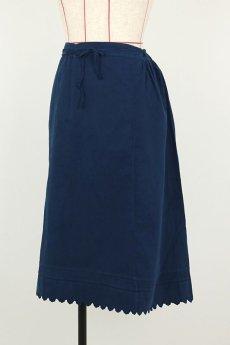 画像7: 【フランス】アンティークコットン インナースカート(後染め/紺色) (7)