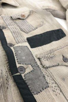 画像4: 【MITSUGU SASAKI】ビンテージリメイク パッチワーク グレー ハンティングジャケット (女性用) (4)