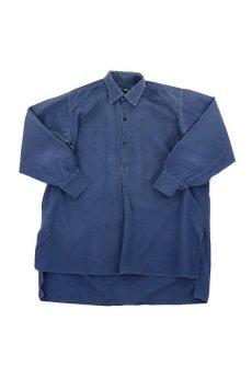 画像1: 【フランス】1950年代頃のブルーコットン 長袖ワークシャツ (1)