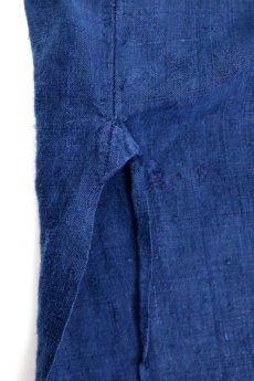 画像8: 【MITSUGU SASAKI】アンティークリネン×染め×古布 パッチワークボロスモックシャツ (紺染め) (8)