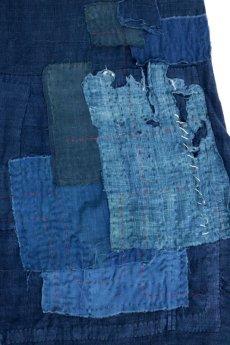 画像8: 【MITSUGU SASAKI】アンティークリネン ×古布×染め 刺し子パッチワーク ナイトドレス(紺) (8)
