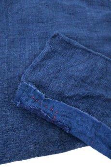 画像10: 【MITSUGU SASAKI】アンティークリネン ×古布×染め 刺し子パッチワーク ナイトドレス(紺) (10)