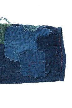 画像12: 【MITSUGU SASAKI】アンティークリネン ×古布×染め 刺し子パッチワーク ナイトドレス(紺) (12)