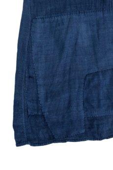 画像6: 【MITSUGU SASAKI】アンティークリネン ×古布×染め 刺し子パッチワーク ナイトドレス(紺) (6)