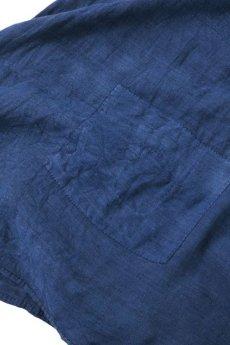 画像14: 【MITSUGU SASAKI】アンティークリネン ×古布×染め 刺し子パッチワーク ナイトドレス(紺) (14)