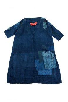 画像1: 【MITSUGU SASAKI】アンティークリネン ×古布×染め 刺し子パッチワーク ナイトドレス(紺) (1)