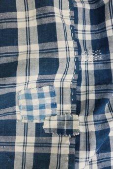 画像12: 【MITSUGU SASAKI】農婦シリーズ フランスアンティーク インディゴ チェックロングスカート(青ひも ) (12)