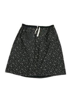 画像2: 【MITSUGU SASAKI】フランスアンティーク ブラックコットン ワーカーズ ロングスカート(黒花柄 ) (2)