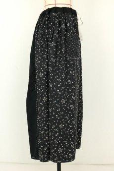 画像14: 【MITSUGU SASAKI】フランスアンティーク ブラックコットン ワーカーズ ロングスカート(黒花柄 ) (14)