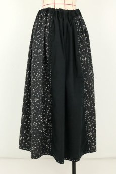 画像13: 【MITSUGU SASAKI】フランスアンティーク ブラックコットン ワーカーズ ロングスカート(黒花柄 ) (13)