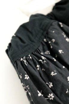画像5: 【MITSUGU SASAKI】フランスアンティーク ブラックコットン ワーカーズ ロングスカート(黒花柄 ) (5)