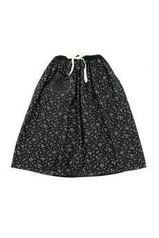 画像1: 【MITSUGU SASAKI】フランスアンティーク ブラックコットン ワーカーズ ロングスカート(黒花柄 ) (1)
