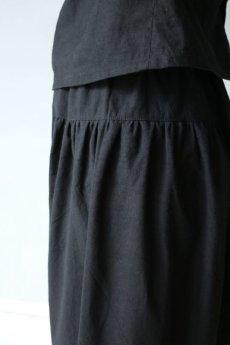 画像3: 【受注販売】アンティークリネン サイドギャザー ボリュームサルエルパンツ(黒色) (3)