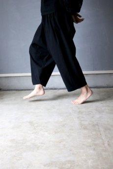 画像6: 【受注販売】アンティークリネン サイドギャザー ボリュームサルエルパンツ(黒色) (6)
