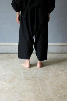 画像5: 【受注販売】アンティークリネン サイドギャザー ボリュームサルエルパンツ(黒色) (5)