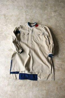 画像14: 【MITSUGU SASAKI】ビンテージリメイク+古布 フレンチミリタリー  パッチワーク ロングチノシャツ (14)
