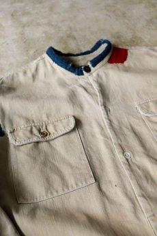 画像16: 【MITSUGU SASAKI】ビンテージリメイク+古布 フレンチミリタリー  パッチワーク ロングチノシャツ (16)