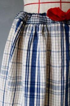 画像5: 【MITSUGU SASAKI】農婦シリーズ フレンチアンティークブルーチェックリネン ロングスカート(赤ひも ) (5)