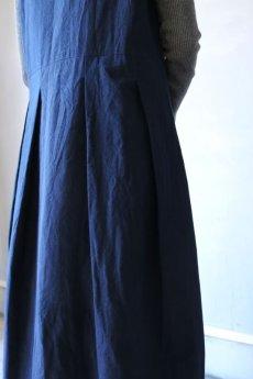 画像10: 【ササキチホ】アンティークリネン×染め モンゴリアンノースリーブワンピース(紺色) (10)