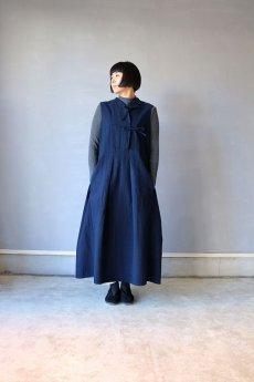 画像11: 【ササキチホ】アンティークリネン×染め モンゴリアンノースリーブワンピース(紺色) (11)