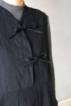 画像4: 【ササキチホ】アンティークリネン×染め モンゴリアンノースリーブワンピース(黒色) (4)