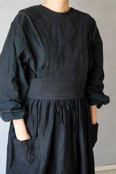画像3: 【ササキチホ】アンティークリネン×染め 胴衣(黒) (3)