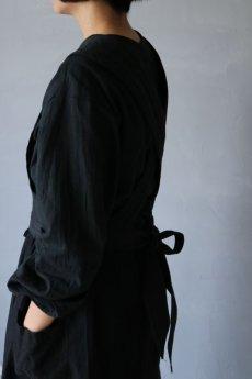 画像7: 【ササキチホ】アンティークリネン×染め 胴衣(黒) (7)