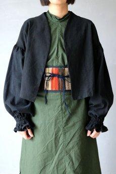 画像3: 【ササキチホ】アンティークリネン×染め ピエロ袖 前開きブラウス(黒色) (3)