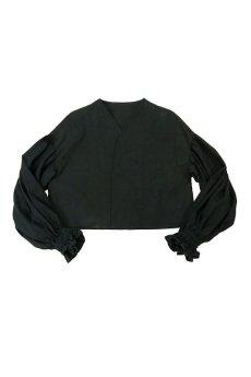 画像1: 【ササキチホ】アンティークリネン×染め ピエロ袖 前開きブラウス(黒色) (1)