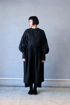 画像12: 【ササキチホ】アンティークリネン×染め 胴衣(黒) (12)