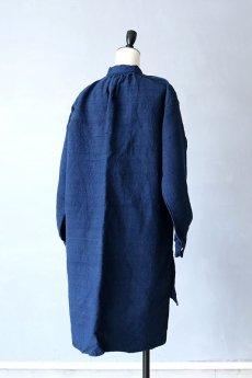 画像10: 【フランス】20世紀初頭のアンティークリネン×染め スモックロングシャツ(紺色) (10)