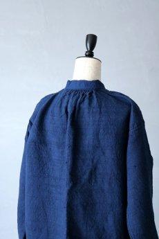画像11: 【フランス】20世紀初頭のアンティークリネン×染め スモックロングシャツ(紺色) (11)