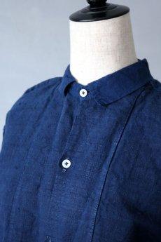 画像3: 【フランス】20世紀初頭のアンティークリネン×染め スモックロングシャツ(紺色) (3)