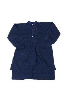 画像1: 【フランス】20世紀初頭のアンティークリネン×染め スモックロングシャツ(紺色) (1)