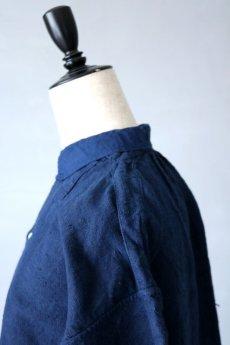 画像8: 【フランス】20世紀初頭のアンティークリネン×染め スモックロングシャツ(紺色) (8)