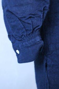 画像7: 【フランス】20世紀初頭のアンティークリネン×染め スモックロングシャツ(紺色) (7)